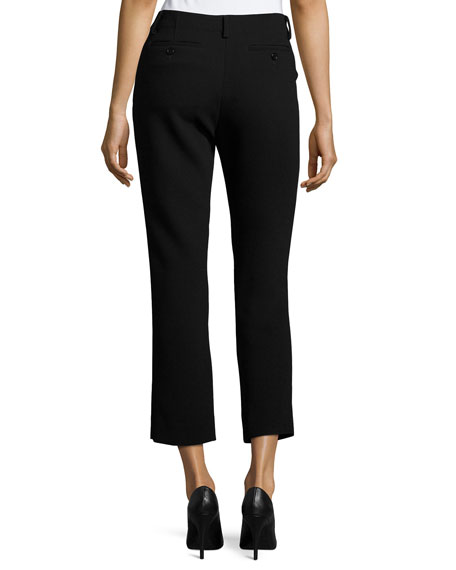 Crepe Cigarette Pants, Black