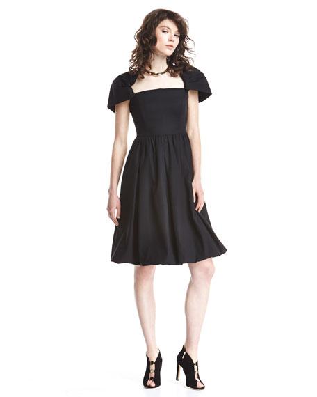 Draped-Shoulder Bubble Dress, Black