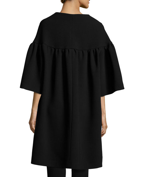 Flared-Sleeve A-Line Car Coat, Black