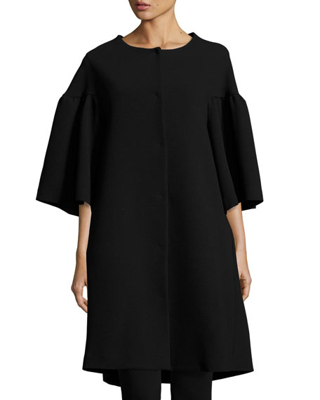 Co Flared-Sleeve A-Line Car Coat, Black
