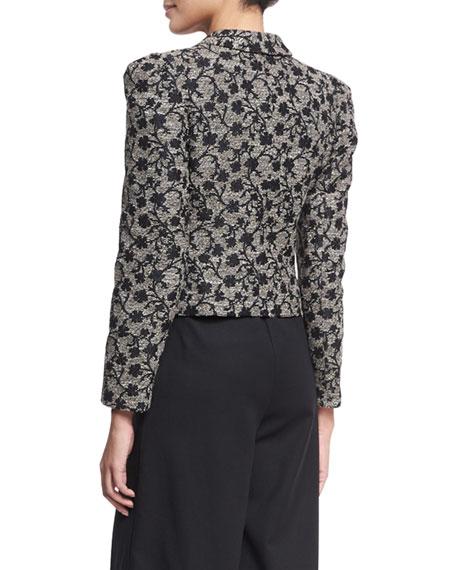 Floral Jacquard Structured Jacket, Black/Gold