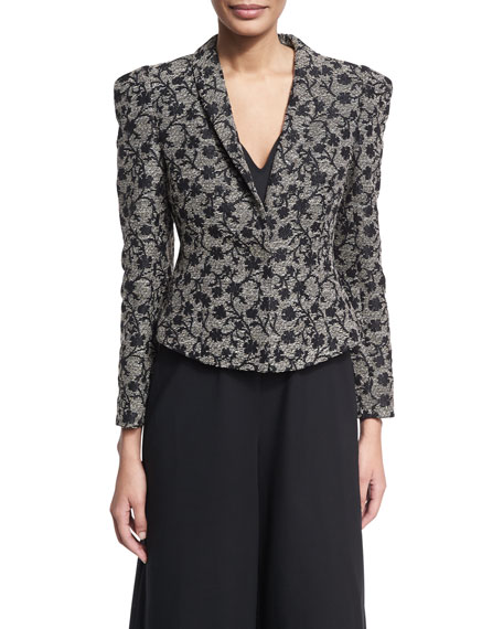 Floral Jacquard Structured Jacket, Black/Gold