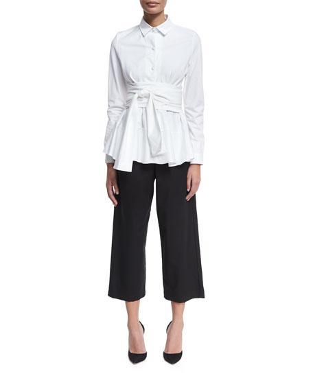 Single-Pleat Tailored Culottes, Black