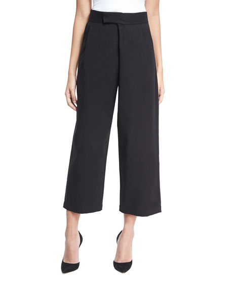 Single-Pleat Tailored Culottes, Black