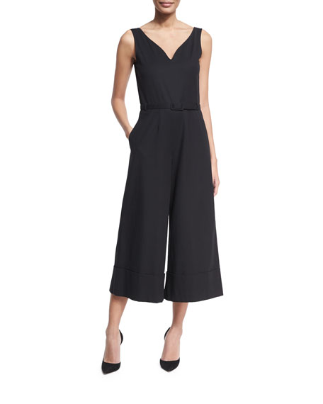 Co Sleeveless Belted V-Neck Culotte Jumpsuit, Black