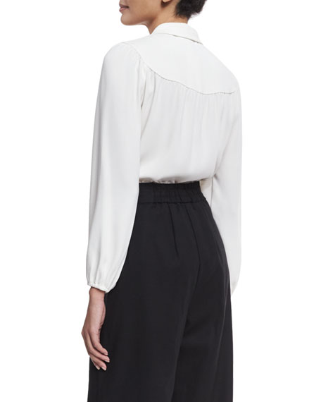 Gathered-Yoke Crepe Blouse, Ivory
