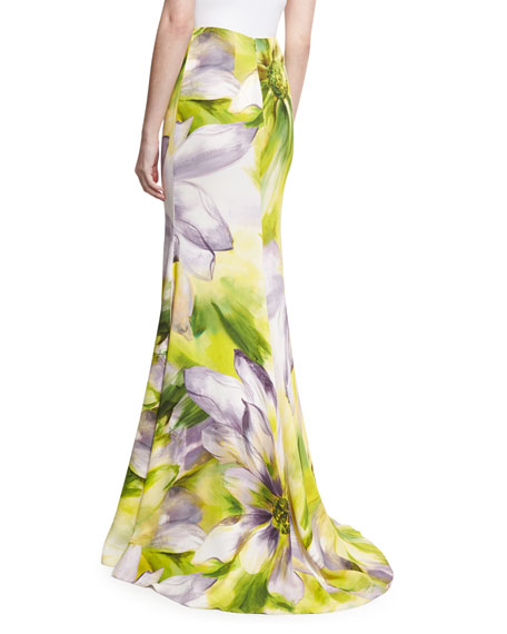 Floral Long Flared Skirt, Lilac/Multicolor