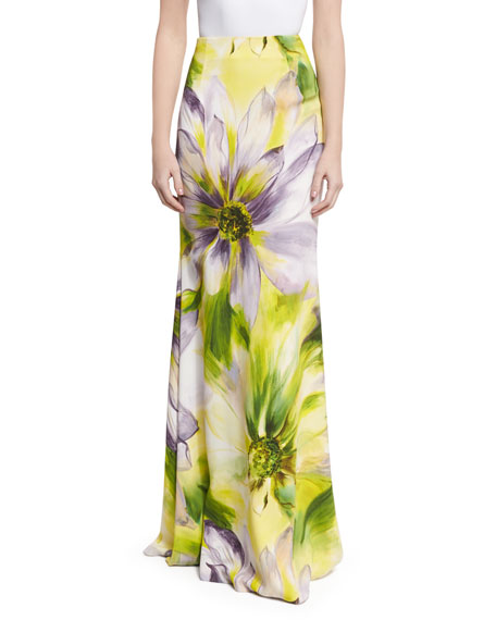 Naeem Khan Floral Long Flared Skirt, Lilac/Multicolor