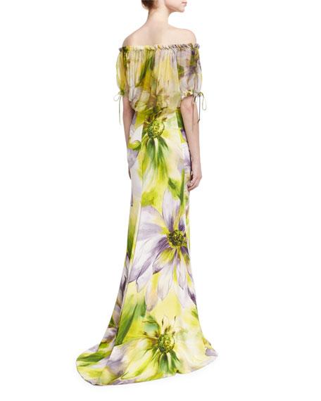 Floral Off-the-Shoulder Blouse, Lilac/Multicolor