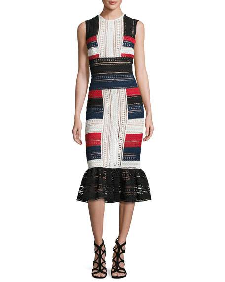 Naeem Khan Striped Lace Sleeveless Sheath Dress, Red/Ivory/Navy