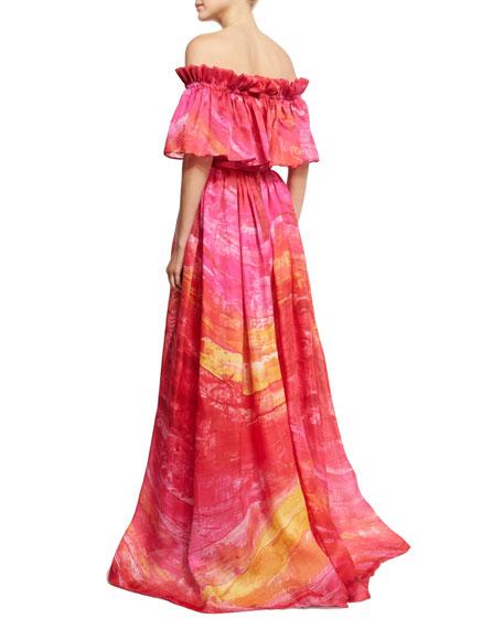 Off-the-Shoulder Brushstroke-Print Silk Gown, Fuchsia/Yellow