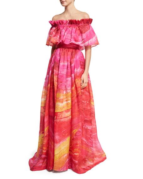Naeem Khan Off-the-Shoulder Brushstroke-Print Silk Gown,