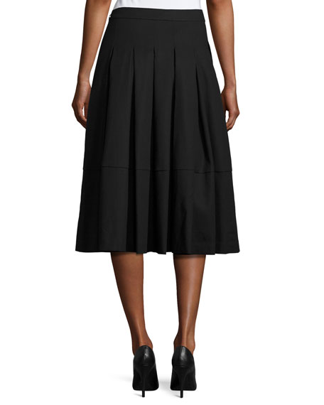 Box-Pleated Midi Skirt, Black