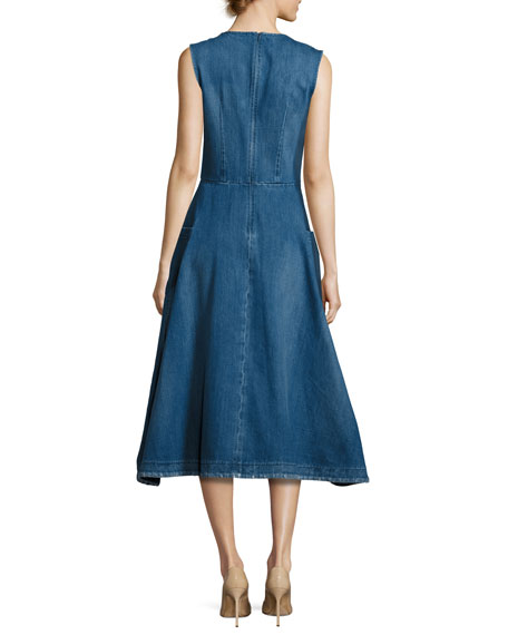 Sleeveless Denim Midi Prairie Dress, Indigo