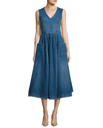 Sleeveless Denim Midi Prairie Dress, Indigo