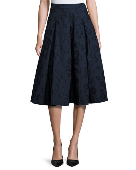 Co Floral Jacquard Box-Pleat Midi Skirt, Navy