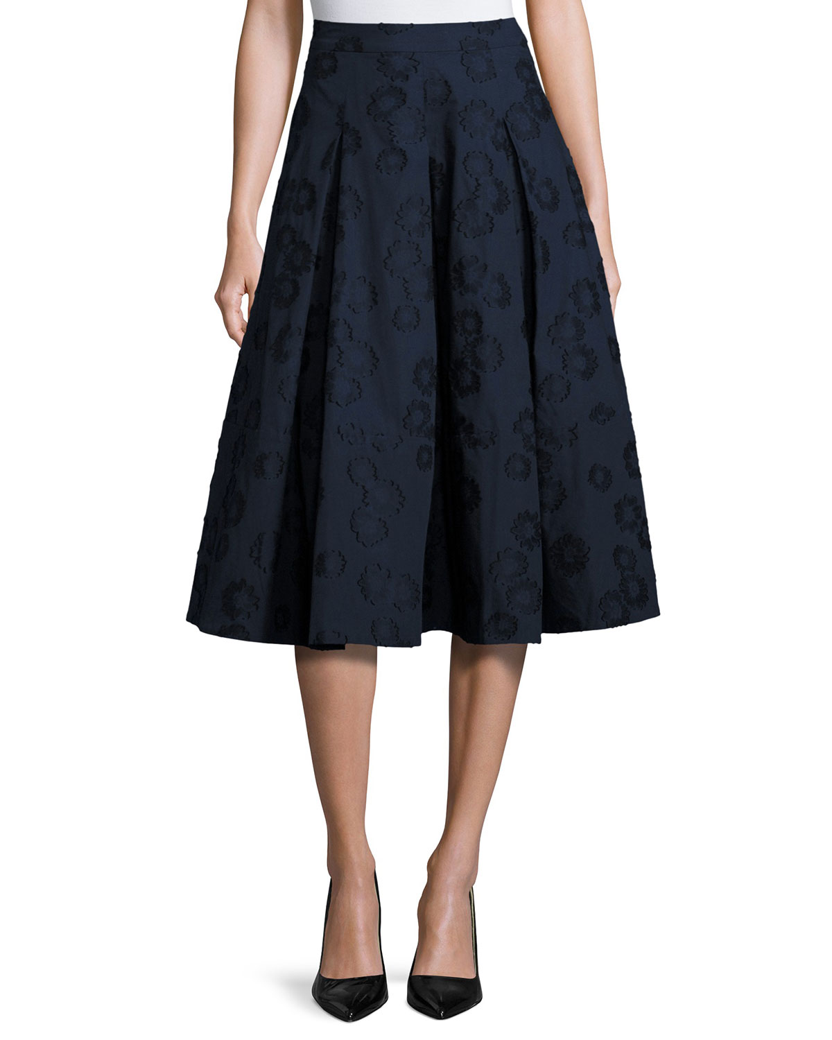 e072a05f30b0 Co Floral Jacquard Box-Pleat Midi Skirt, Navy | Neiman Marcus
