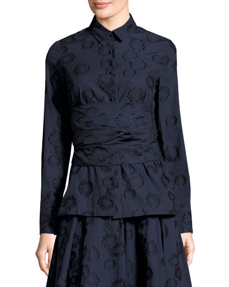 Co Floral Jacquard Shirt with Self Wrap, Navy
