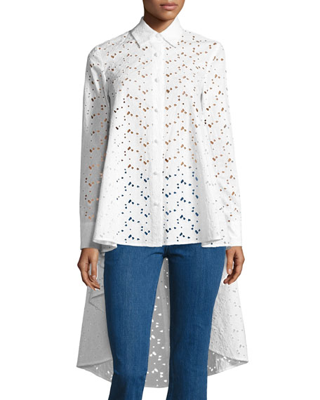 Eyelet Lace Waterfall-Back Shirt, White