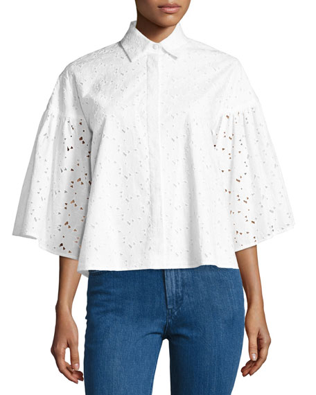 Co Eyelet Lace Flared-Sleeve Shirt, White