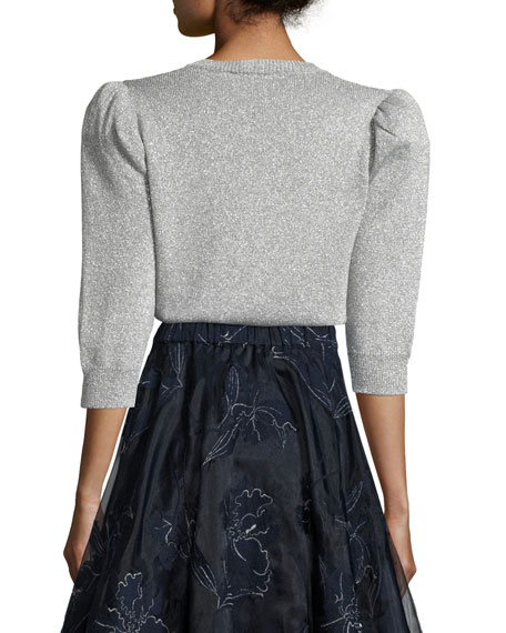 Metallic Sweater with Puffed Shoulder, Silver