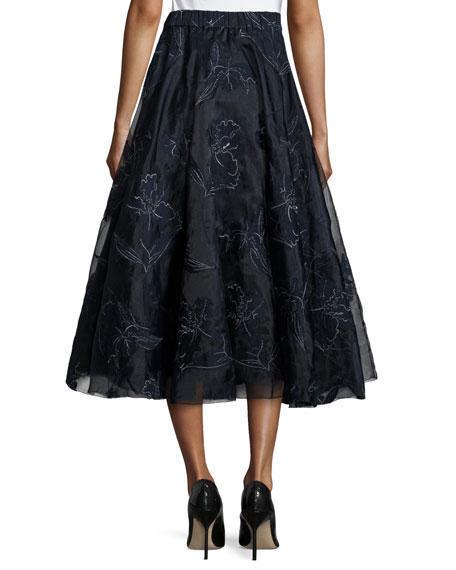 Embroidered Iris Organza Full Midi Skirt, Navy