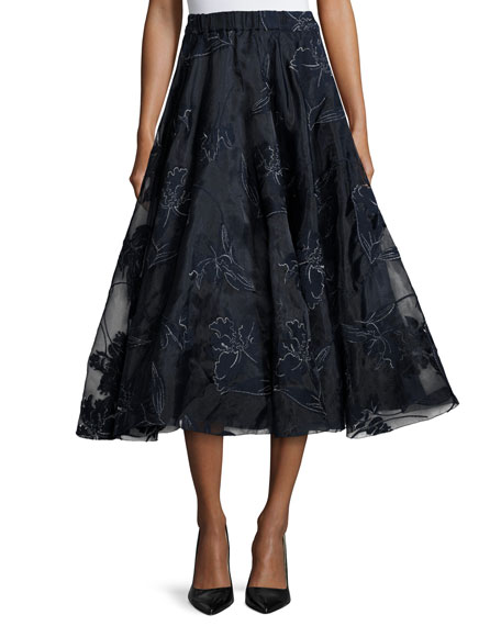 Co Embroidered Iris Organza Full Midi Skirt, Navy