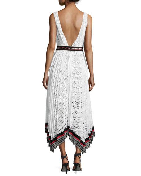 Cotton Eyelet Sleeveless V-Neck Midi Dress, White