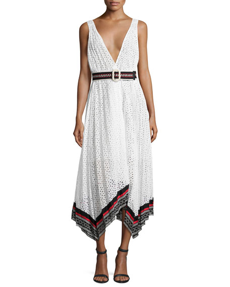 Oscar de la Renta Cotton Eyelet Sleeveless V-Neck