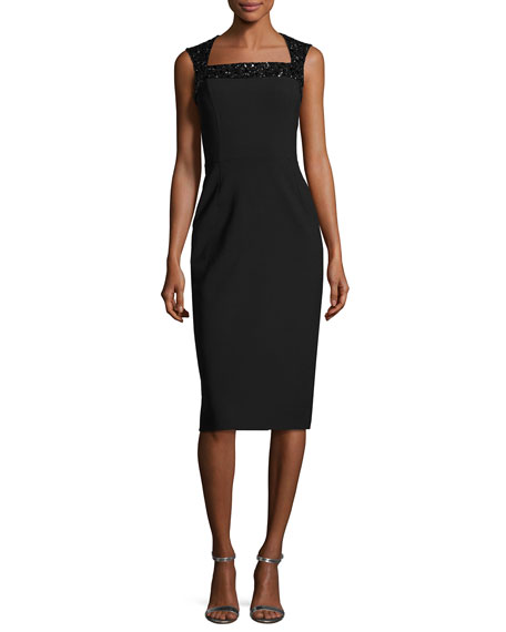 Oscar de la Renta Beaded-Shoulder Cocktail Dress, Black