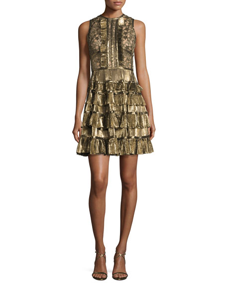 Elie Saab Sleeveless Metallic Star-Lace Ruffled Dress, Gold