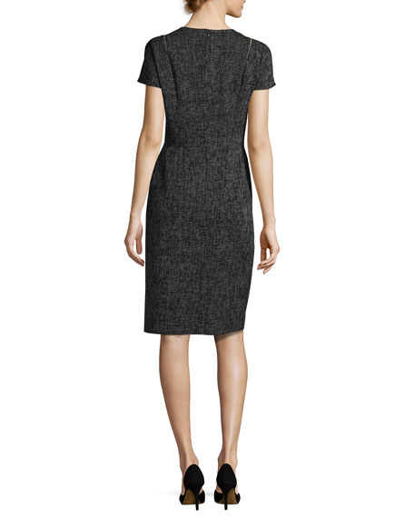 Optic-Weave Cap-Sleeve Sheath Dress, Black