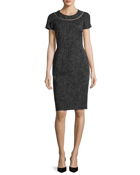Escada Optic-Weave Cap-Sleeve Sheath Dress, Black