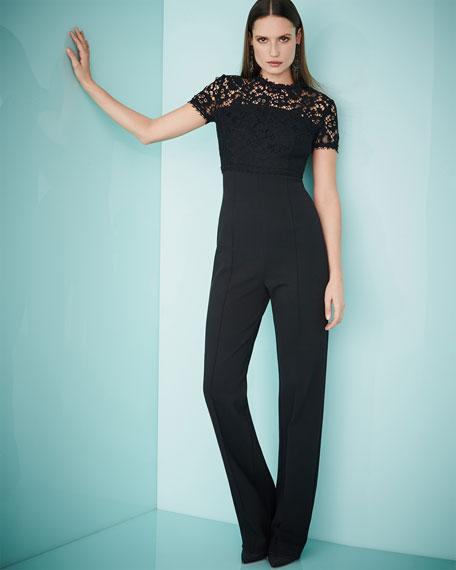 Lace-Bodice Short-Sleeve Jumpsuit, Black