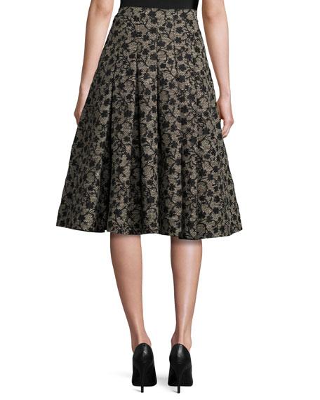 Floral Jacquard Box-Pleat Skirt, Black/Gold