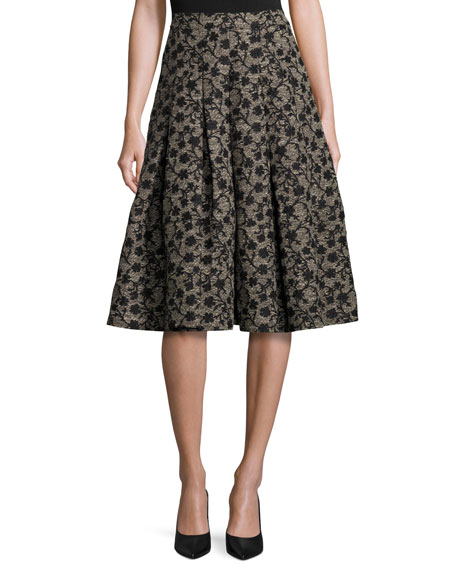 Co Floral Jacquard Box-Pleat Skirt, Black/Gold