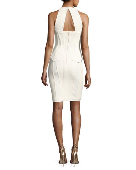 Marlena Sleeveless Peplum Bustier Dress, Alabaster Combo