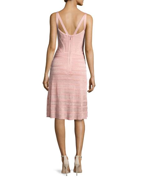 Sleeveless Keyhole Bandage Dress with Knit Skirt, Pink