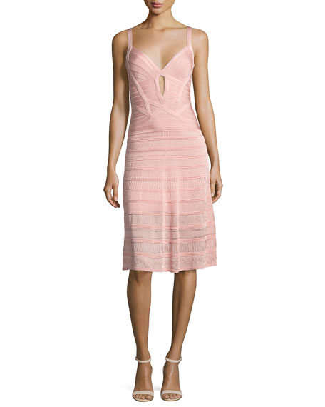 Herve Leger Sleeveless Keyhole Bandage Dress with Knit