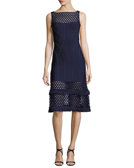 Herve Leger Camellia Cutout Fringe Bandage Dress, Blue