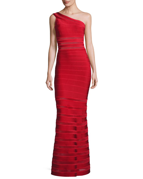 Herve Leger One-Shoulder Bandage Illusion Gown, Red