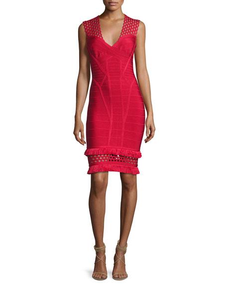 Herve Leger V-Neck Cutout Fringe-Trim Bandage Dress, Red