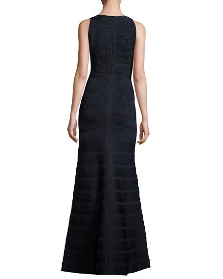 Sofia Sleeveless Metallic-Stripe V-Neck Bandage Gown, Blue