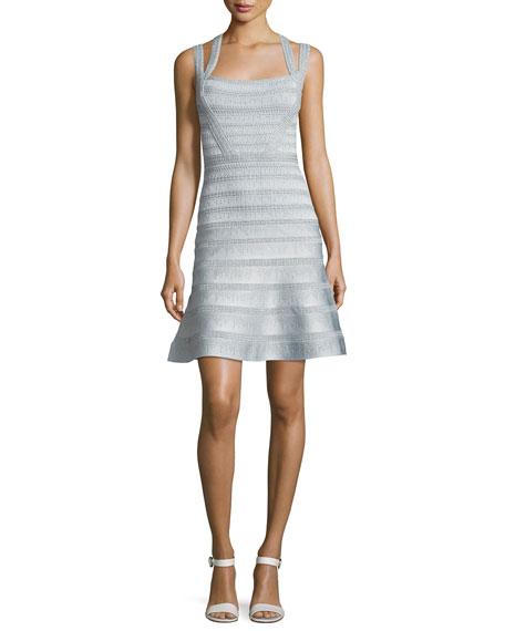 Herve Leger Carole Metallic Jacquard Bandage Flounce Dress,
