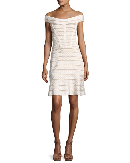 Herve Leger Camira Off-the-Shoulder Bandage Cocktail Dress,