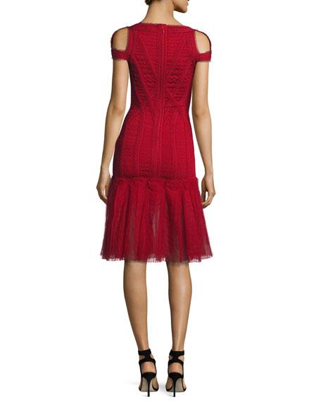 Lexi Cold-Shoulder Tulle-Skirt Bandage Dress, Red