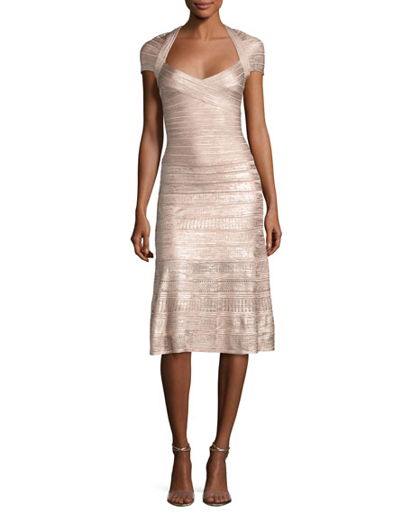 Herve Leger Foil Cap-Sleeve Bandage Midi Dress, Pink