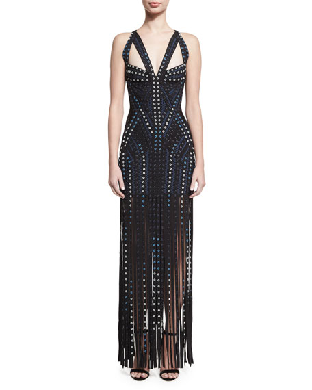 Herve Leger Grommet-Embellished Sleeveless Bandage Gown with