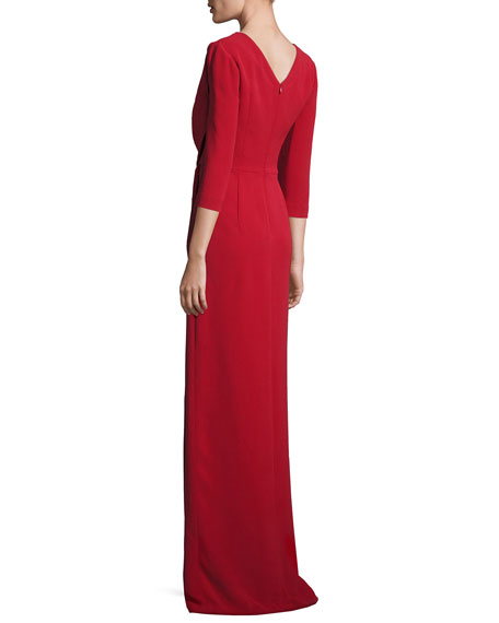 3/4-Sleeve Twist-Waist Gown, Red