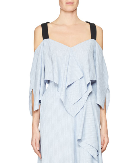 Roland Mouret Bach Cold-Shoulder Chevron Top, Lavender/Black